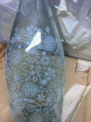 Botella cristal decorada