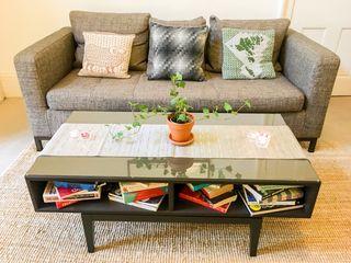 Modern, Dark Wood Coffee Table with glass top IKEA