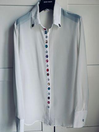 Pació, camisa, vintage, con piedras, L-XL