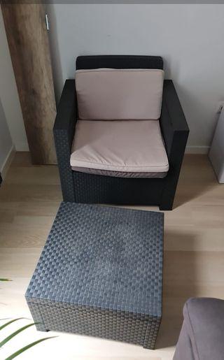 2 sillones para jardin y mesita baja