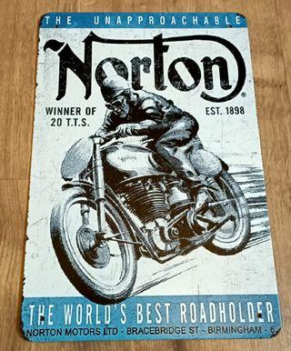 Cartel decoración clásico. Motocicleta Norton