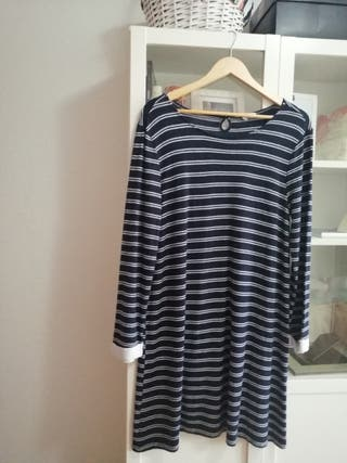 vestido de rayitas azul marino de punto mujer