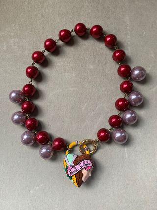 Collar Bimba y Lola corazón y perlas