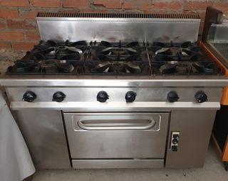 cocina industrial de 6 fuegos
