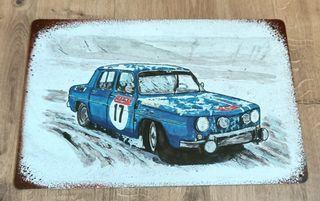 Cartel decoración de metal. Renault 8 Rally