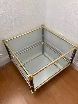 Mesa auxiliar dorada / cristal / espejo