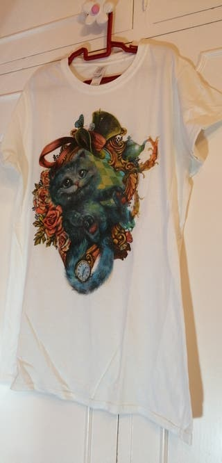 camiseta gato Alicia, mujer