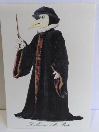 Colección de 7 postales de Comedia dell'Arte