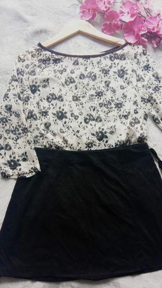 LOTE A ESTRENAR Camisa floral + Falda Zara
