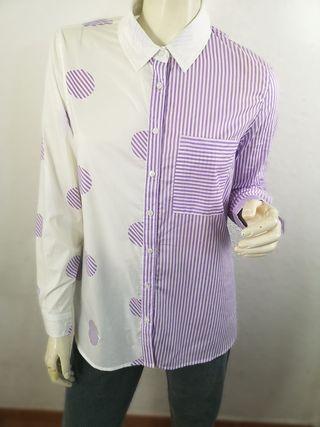 Maxi camisa bicolor