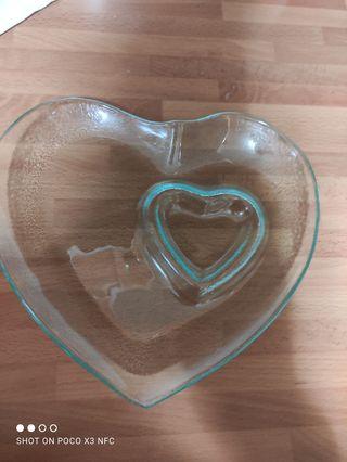 plato cristal corazón
