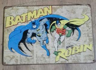 Cartel decoración de metal. Batman y Robin