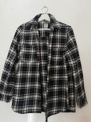 Camisa de cuadros Zara, chico algodón. Talla S.