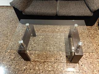 mesa auxiliar cristal salón