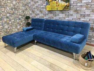 Sofá-cama chaise-longue azul terciopelo