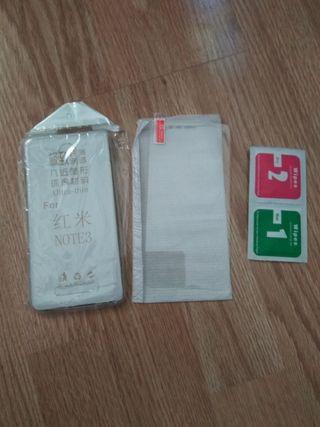 Xiaomi redmi note 3 pro funda + cristal a estrenar
