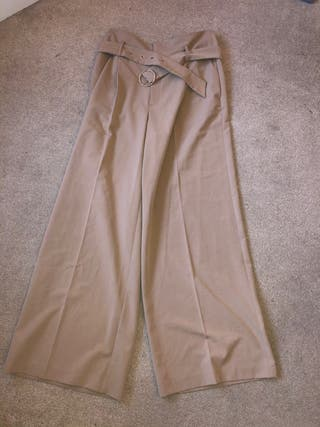 Beige Brown Tailored Wide Leg Trousers
