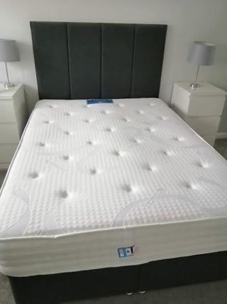 Grey double divan bed