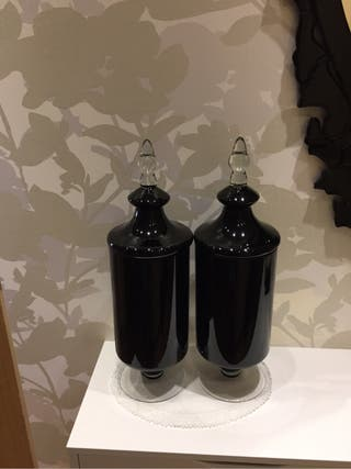 Jarrones cristal negro