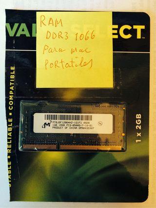 RAM DDR3 1066 para portatiles Mac apple