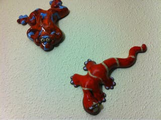 Salamandra y ranita de ceramica