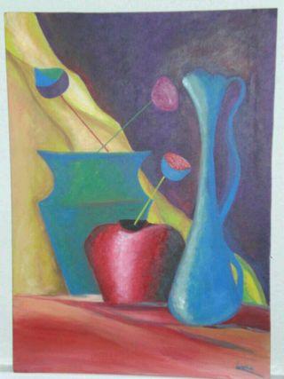 Bodegón abstracto pintado a mano.